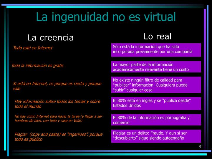 La ingenuidad no es virtual
