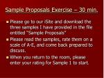 sample proposals exercise 30 min