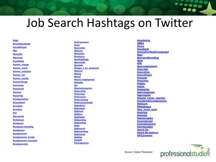 Job Search Hashtags on Twitter