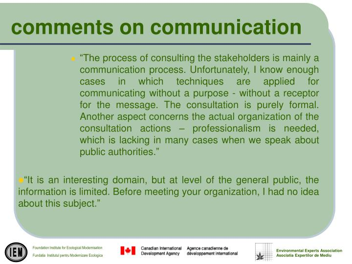 comments on communication