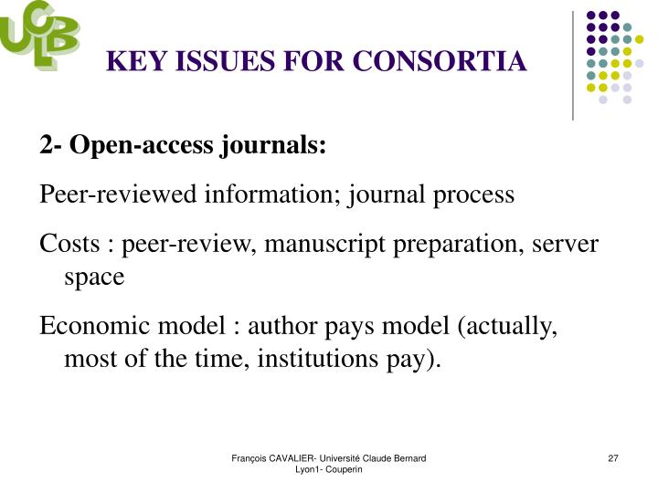 KEY ISSUES FOR CONSORTIA