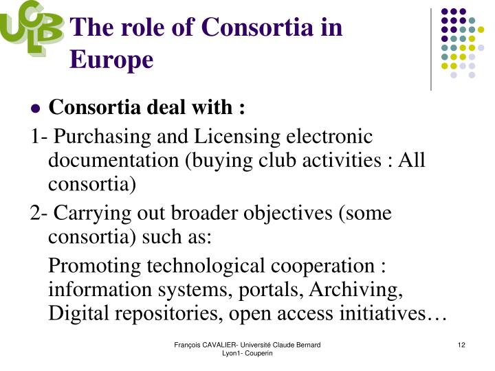 The role of Consortia in Europe