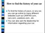 how to find the history of your car