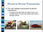 person to person transactions