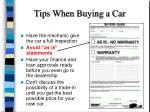 tips when buying a car