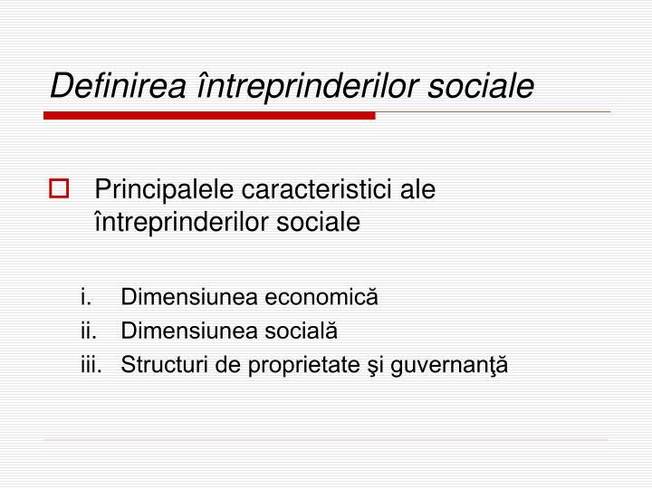 Definirea întreprinderilor sociale