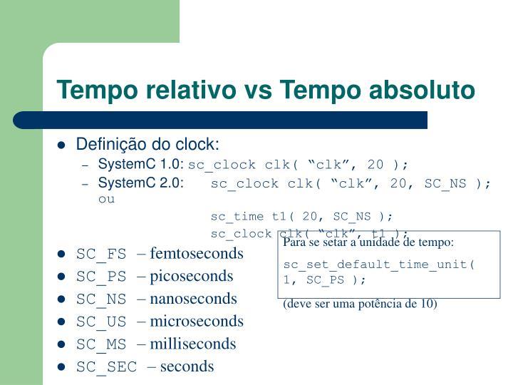 Tempo relativo vs Tempo absoluto