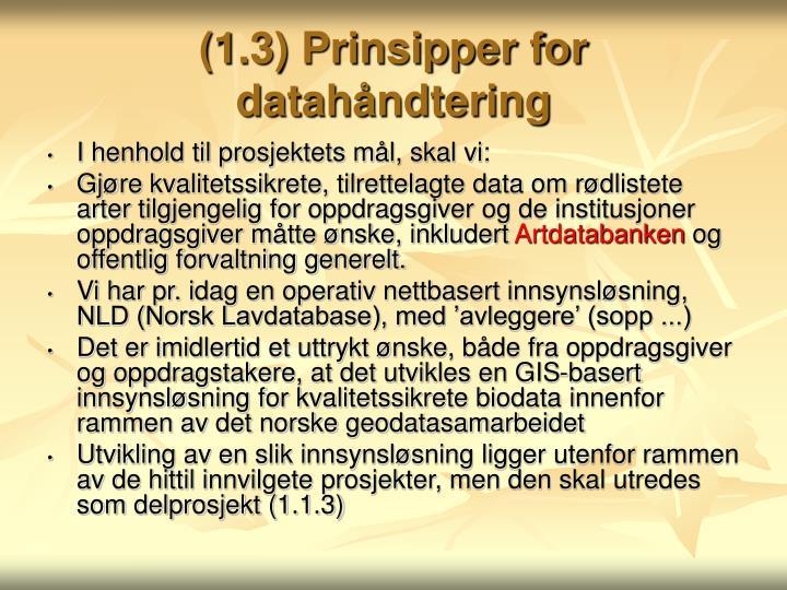 (1.3) Prinsipper for datahåndtering