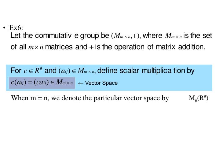 When m = n, we denote the particular vector space by