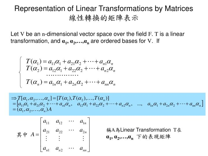 Representation of Linear Transformations by Matrices