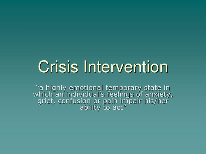 an analysis of psychotherapy versus crisis intervention