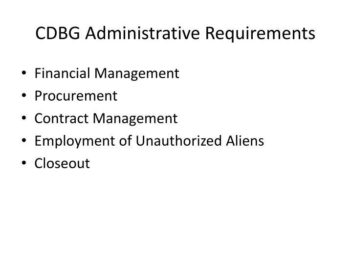 Cdbg administrative requirements