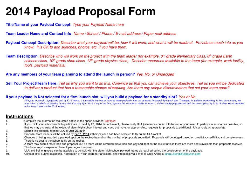 PPT - 2014 Payload Proposal Form Title/Name of your Payload Concept