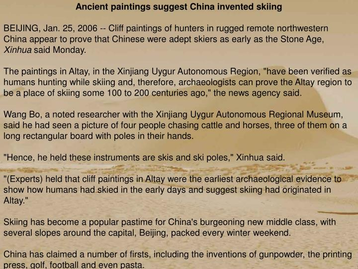 Ancient paintings suggest China invented skiing