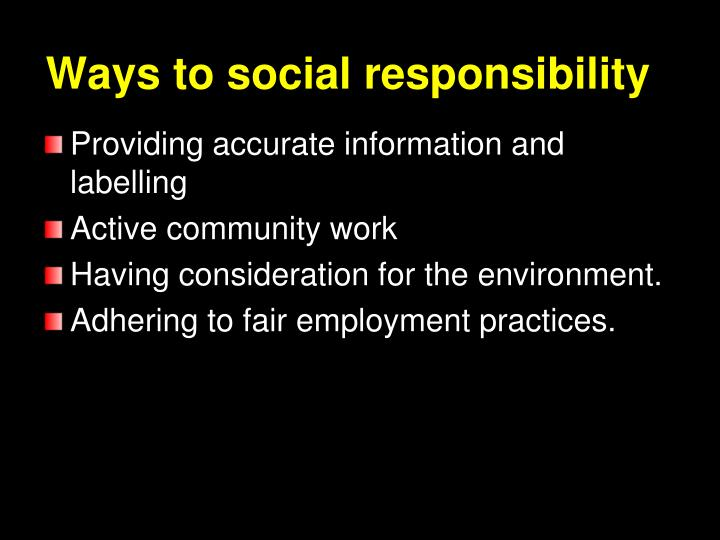 Ways to social responsibility