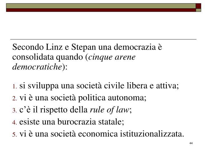 Secondo Linz e Stepan una democrazia è consolidata quando (