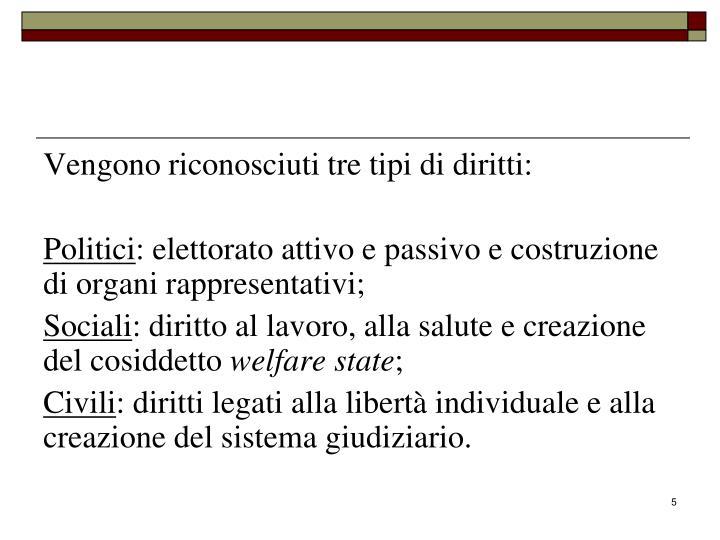 Vengono riconosciuti tre tipi di diritti: