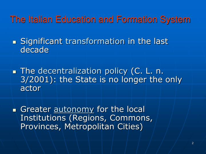 The italian education and formation system