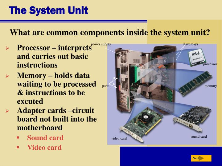 the components of the system unit Understanding the computer system unit submitted:08/25/2015 10 • a storage device for data and information • components used to process data into information.