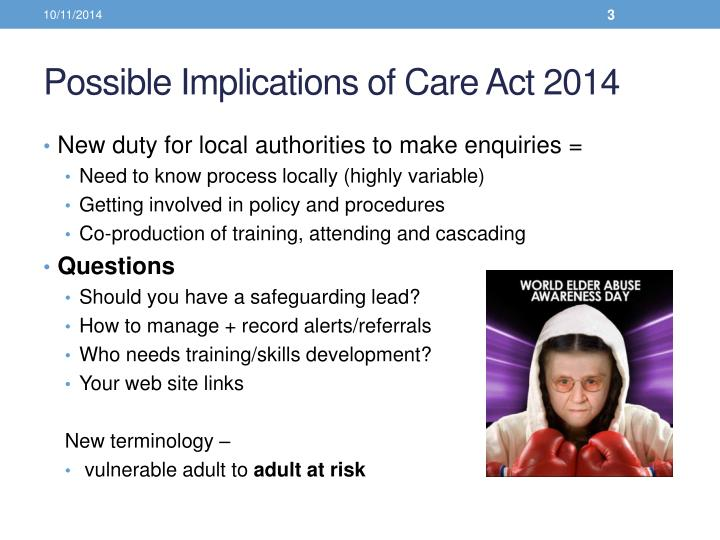 Possible implications of care act 2014