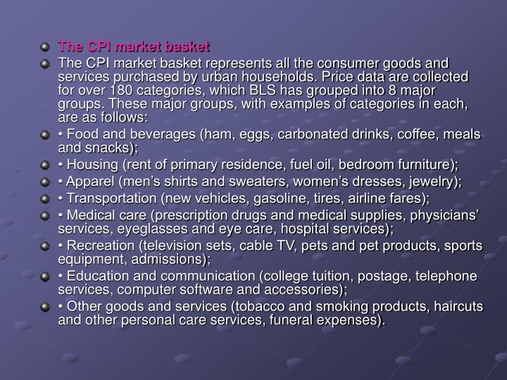 The CPI market basket
