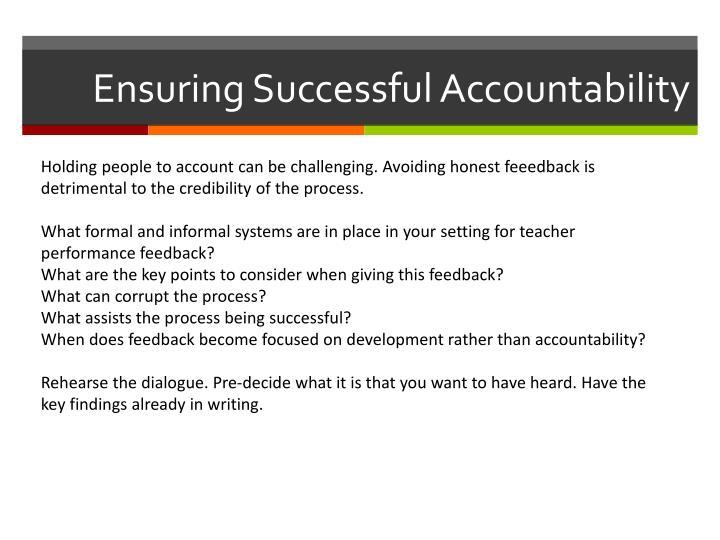 Ensuring Successful Accountability