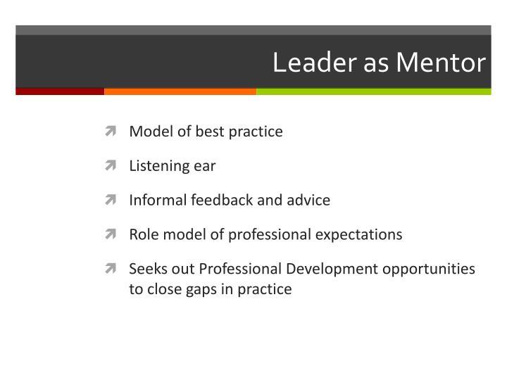 Leader as Mentor