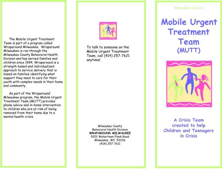 The Mobile Urgent Treatment Team is part of a program called Wraparound Milwaukee.  Wraparound Milwa...