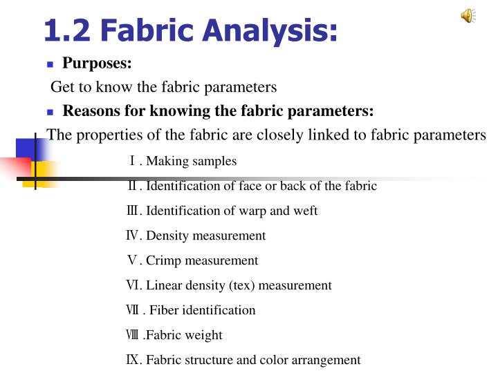 1 2 fabric analysis n.