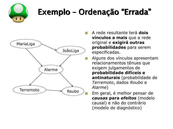 """Exemplo – Ordenação """"Errada"""""""