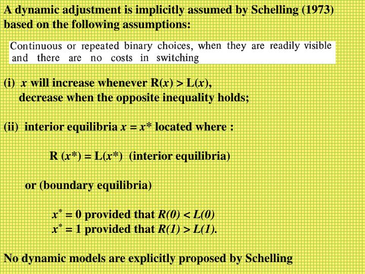 A dynamic adjustment is implicitly assumed by Schelling (1973)