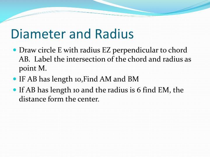 Diameter and Radius