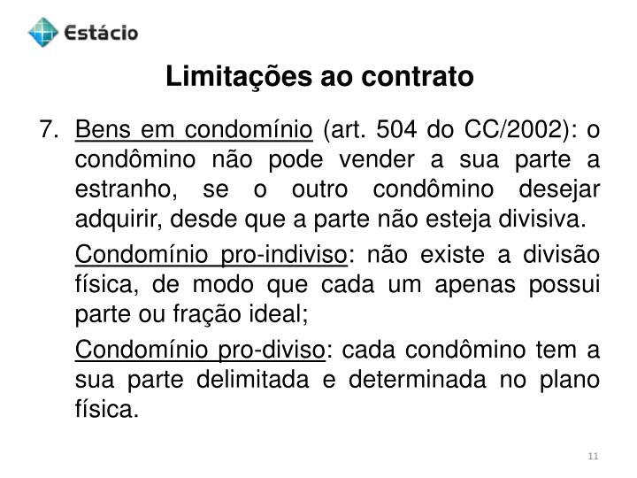 Limitações ao contrato