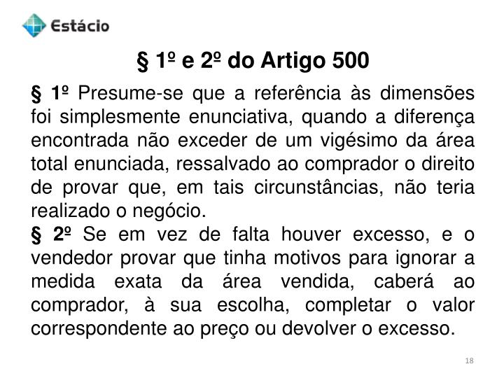 § 1º e 2º do Artigo 500