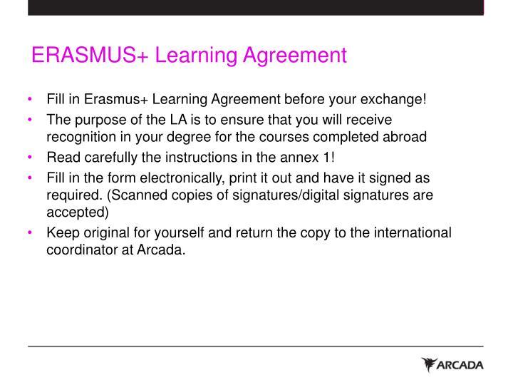Erasmus learning agreement