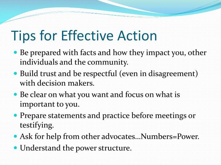 Tips for Effective Action