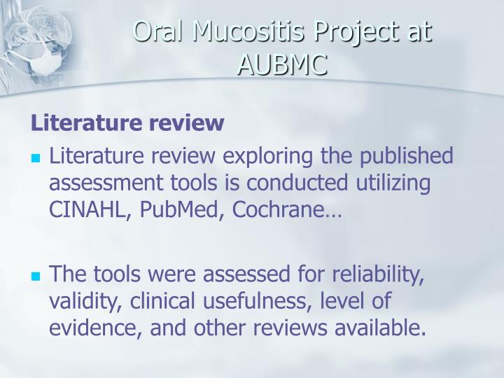 Oral Mucositis Project at AUBMC