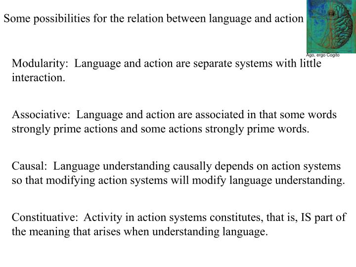 Some possibilities for the relation between language and action