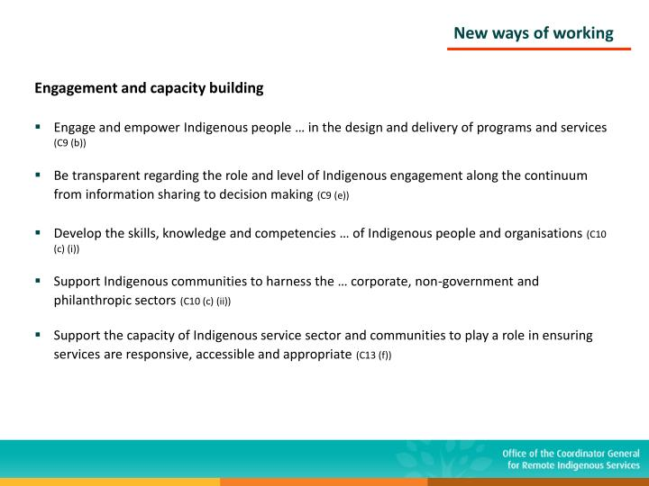 Engagement and capacity building