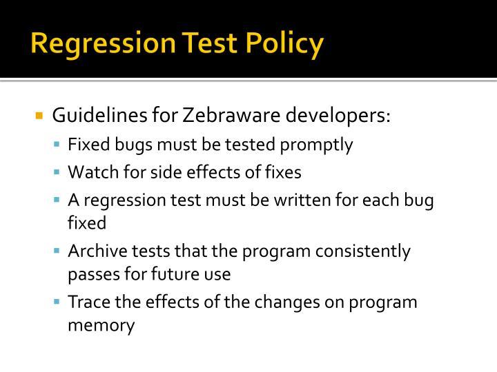 Regression Test Policy
