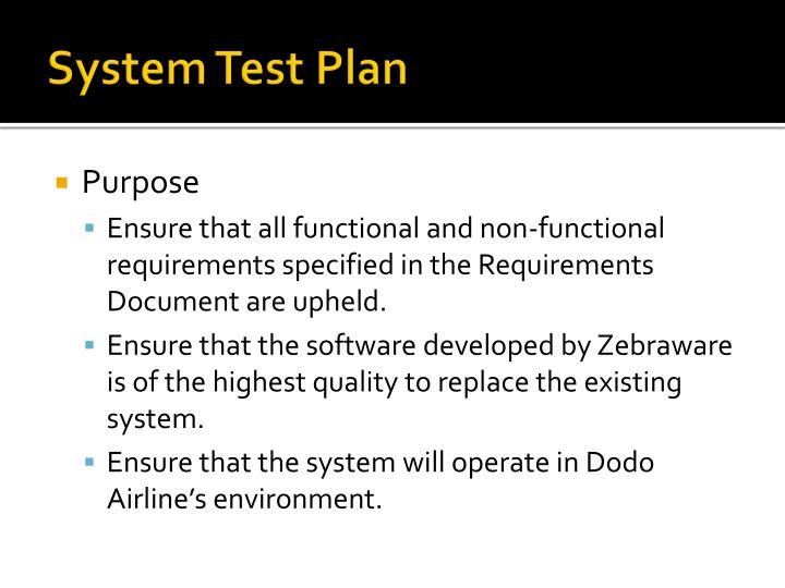 System Test Plan