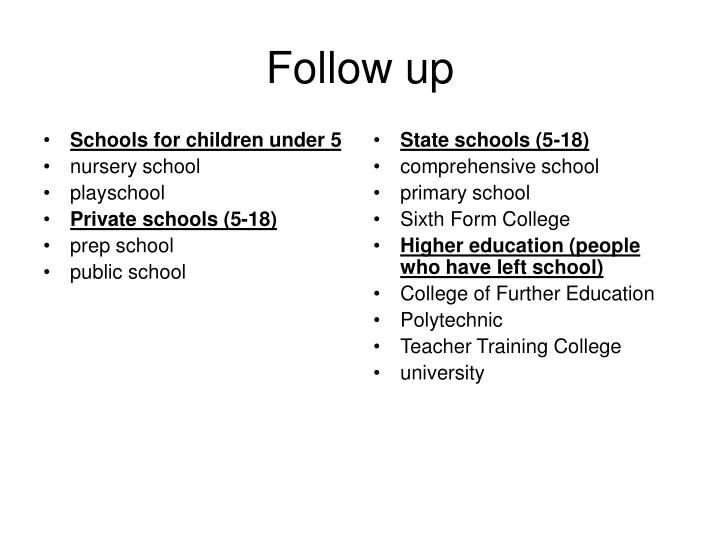 Schools for children under 5
