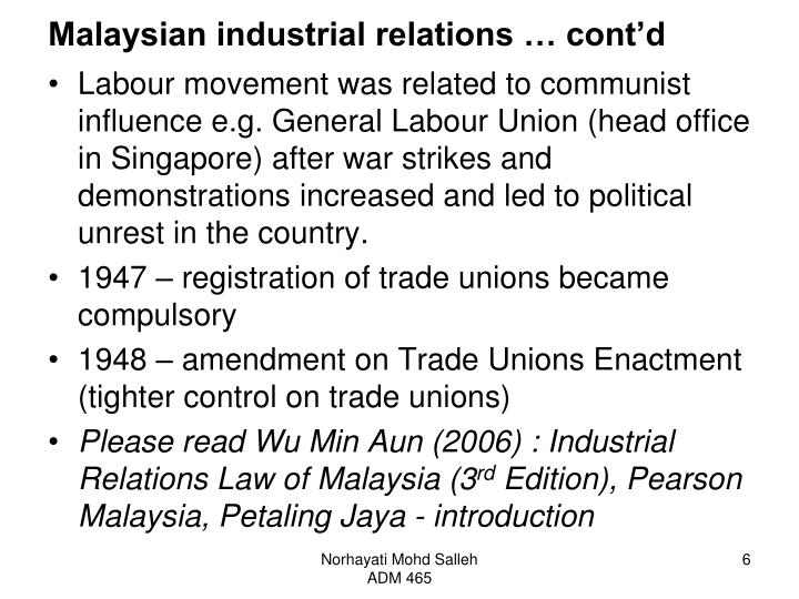 Malaysian industrial relations … cont'd