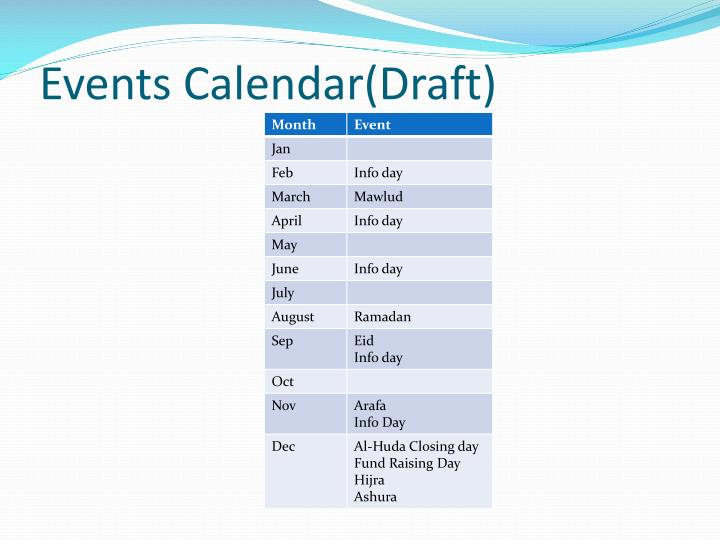 Events Calendar(Draft)