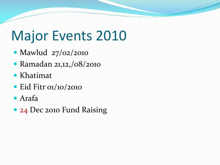 Major Events 2010