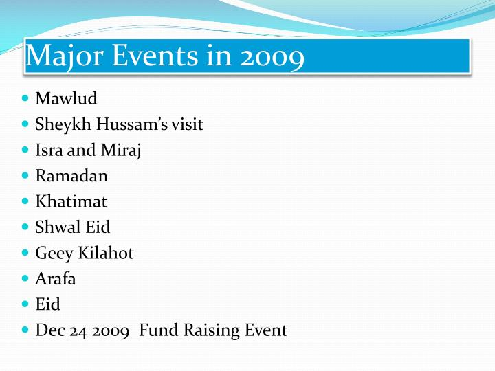 Major Events in 2009