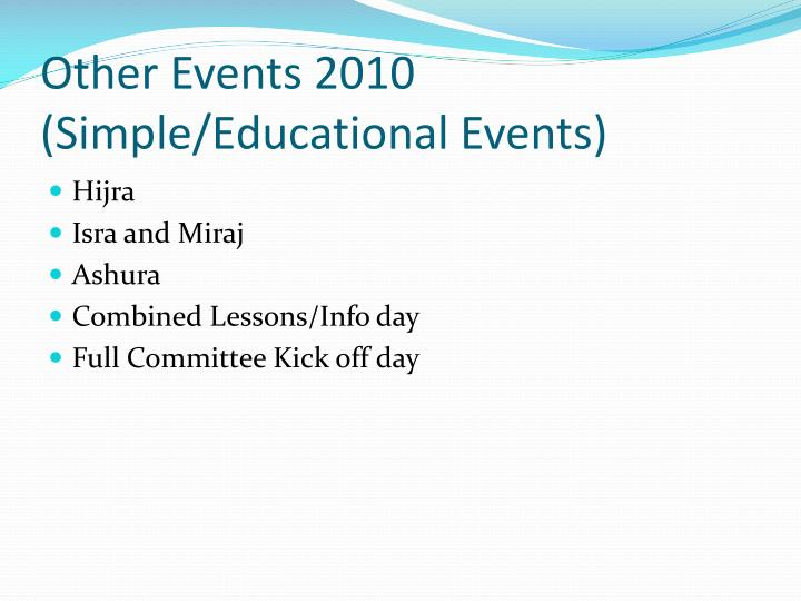 Other Events 2010