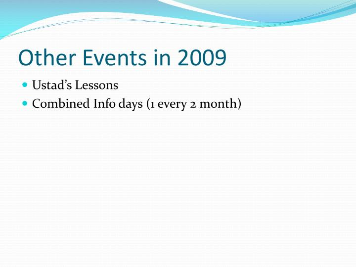 Other Events in 2009
