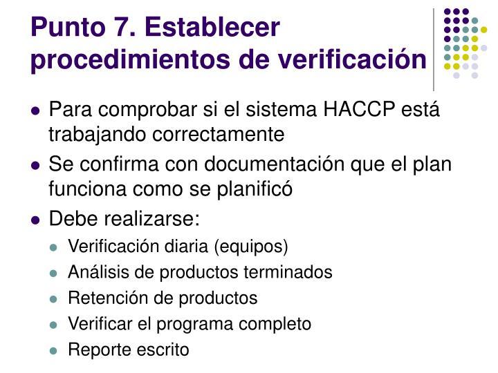 Punto 7. Establecer procedimientos de verificación
