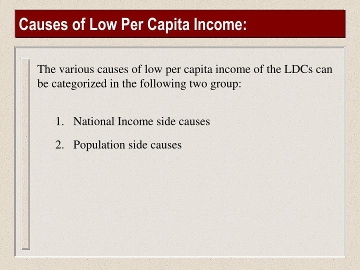 Causes of Low Per Capita Income: